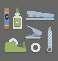 colorful flat design stationary tools set vector image