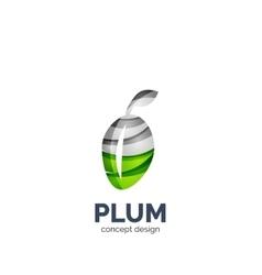 creative abstract plum fruit logo vector image vector image
