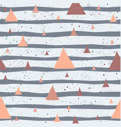 cute pattern with triangles on pastel blue stripes vector image