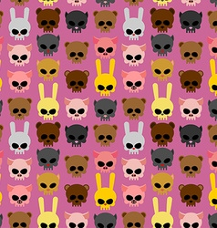 Cute skulls of animals rabbit and cat bear and pig vector