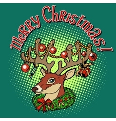 Deer santa claus merry christmas vector