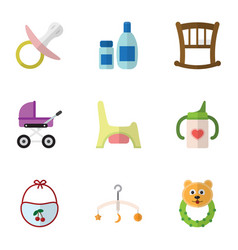 flat icon child set of cream with lotion nipple vector image