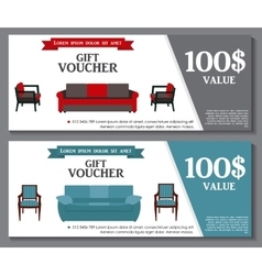 Gift voucher template with variation of furniture vector