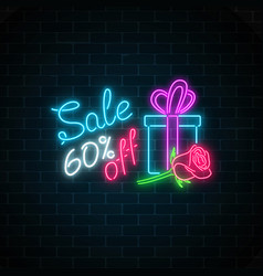 glowing neon banner of 8 march big sale on dark vector image