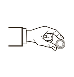 hand business put coin banking conept vector image