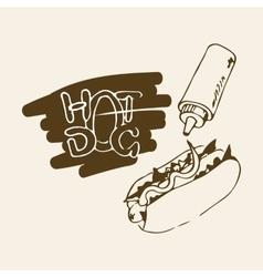 Hot dog hand drawn vector