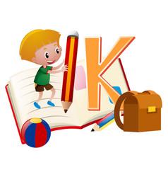letter k and little boy vector image
