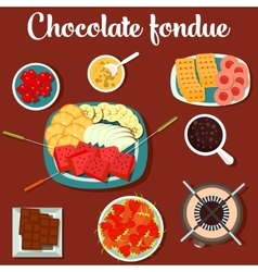 Melted chocolate fondue with cookies and vector image vector image