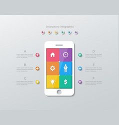 Paper smartphone screen infographics vector