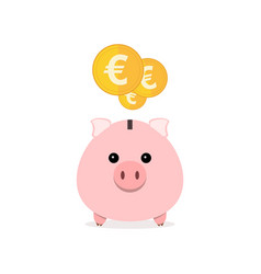 piggy bank with coins vector image
