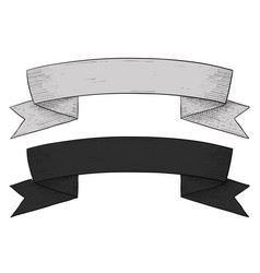 ribbon banner hand drawn sketch vector image