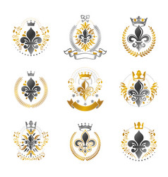 Royal symbols lily flowers emblems set heraldic vector