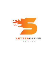 s letter flame logo design fire logo lettering vector image