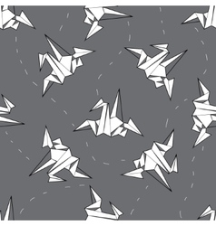 Seamless background white origami crane on vector