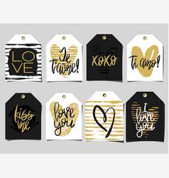 Set of 8 romantic labels vector