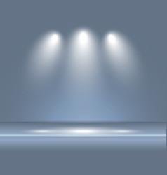 spotlight gray blue light rays room studio vector image