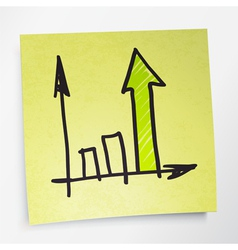 sticky note business graph vector image vector image