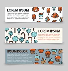Sweet candy cake ice cream banners - desserts vector
