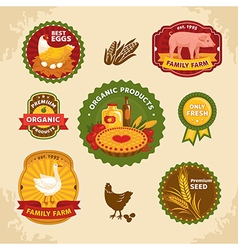 Vintage farm labels vector image
