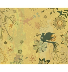 Vintage floral background with bird vector
