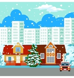 Winter cityscape buildings vector