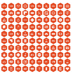 100 location icons hexagon orange vector