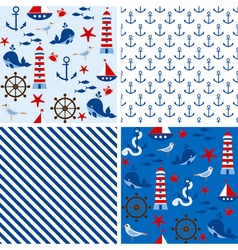 Seamless nautical patterns vector
