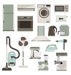Group of household appliances vector