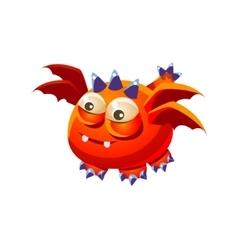 Orange fantastic friendly pet dragon with four vector
