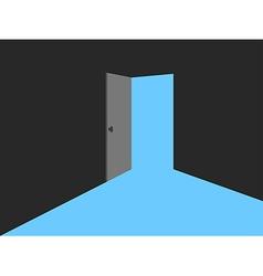 Light from the open door blue lights vector