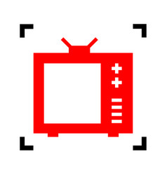Tv sign   red icon inside vector