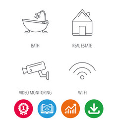 wifi video camera and real estate icons vector image