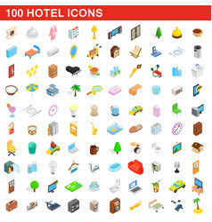100 hotel icons set isometric 3d style vector