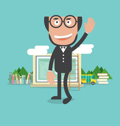 Happy bald head teacher with education concept vector