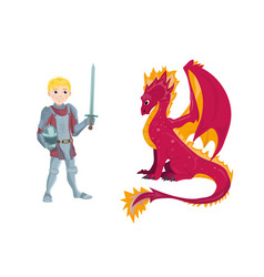 a cartoon dragon and young knight character in his vector image