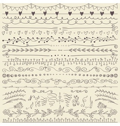 Set of hand drawn lines border and elegant design vector