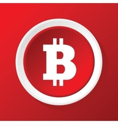 Bitcoin icon on red vector