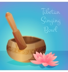 Tibetan singing bowl with vector