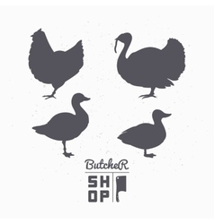 Set of farm birds silhouettes chicken turkey vector