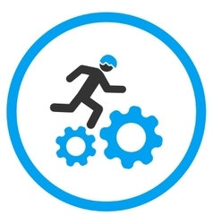 Running developer over gears icon vector