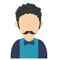 Man with curly hair and mustache avatar icon vector