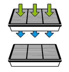 Air filter flow symbols vector
