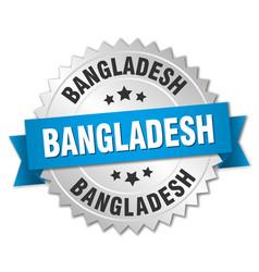 Bangladesh round silver badge with blue ribbon vector