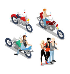 bikers with motobikes motorcycle riders vector image vector image