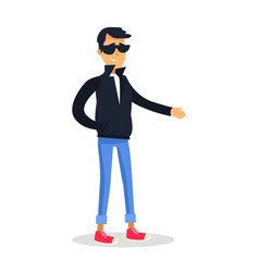 Cartoon man in black jacket and glasses on white vector