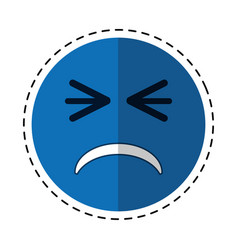Cartoon unhappy face emoticon funny vector