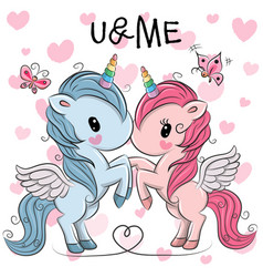 Cute unicorns on a hearts background vector