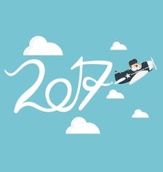 Drawing airplane in the sky new year concept vector