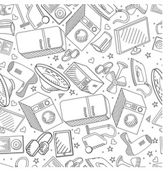 Electronics seamless line art design vector