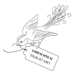 Fantasy bird flies and bears a label with the vector image
